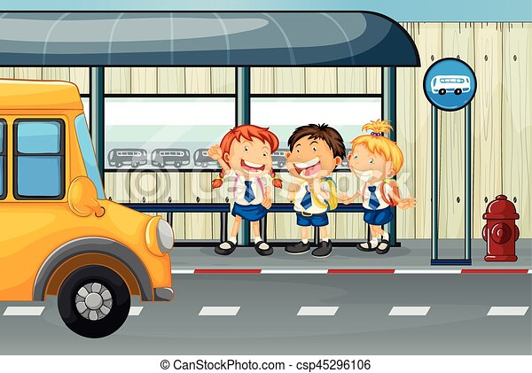 Line Of Kids Getting On Bus