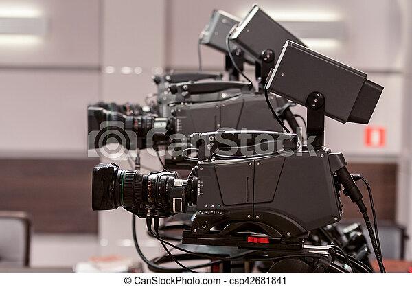 Three studio TV camera - csp42681841