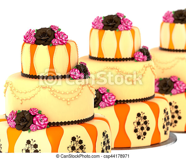 Wondrous Three Tier Cake With 3 Layer Decorated Chocolate Rose Three Tier Funny Birthday Cards Online Overcheapnameinfo