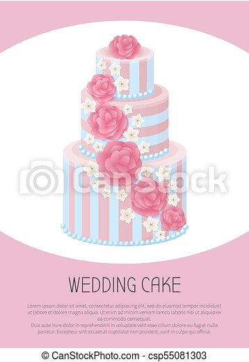 Three-Tier Wedding Cake Decorated with Glaze Roses - csp55081303