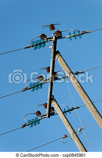 Three Tilted Power Lines - csp0845961