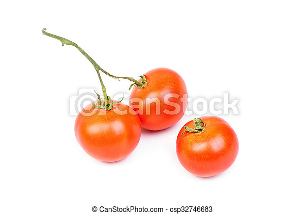 Three tomatoes isolated on white background - csp32746683