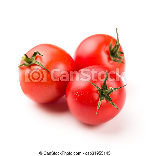 Three tomatoes isolated on white background - csp31955145