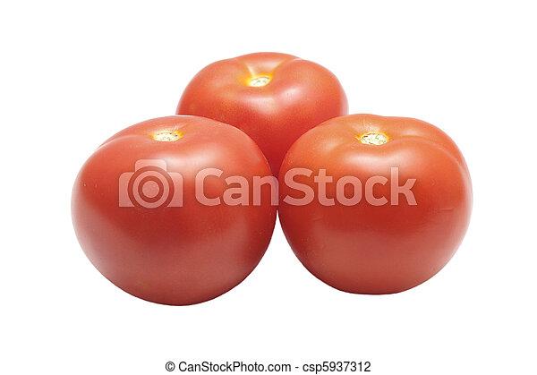 Three tomatoes isolated - csp5937312
