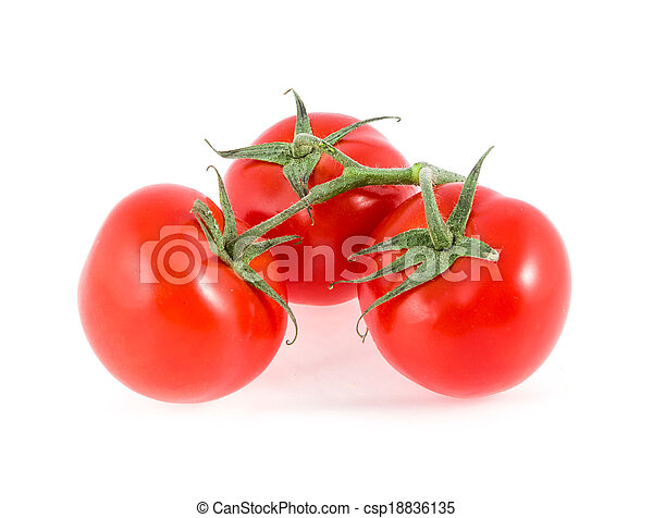 three tomatoes on a branch - csp18836135