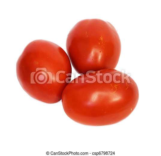 three tomatoes on white background - csp6798724