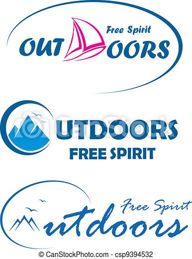 Three travel logos -free spirit out - csp9394532