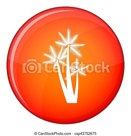 Three tropical palm trees icon, flat style - csp43752675