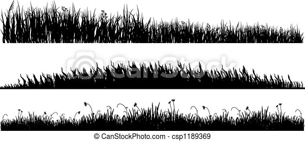 grass clipart black and white. stock illustration three variants of black grass clipart and white