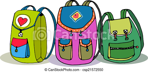 three vector colorful children backpacks isolated on white rh canstockphoto com backpack clip art printables backpacking clipart