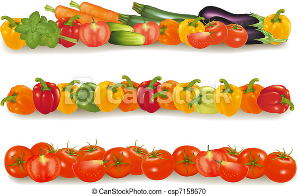 Three vegetable design borders - csp7158670