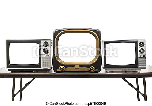 Three Vintage Televisions Isolated with Empty Screens - csp57600049