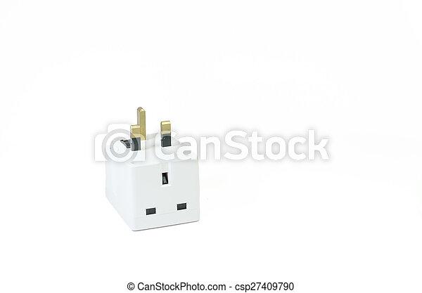 Three way electric socket isolated on white background.