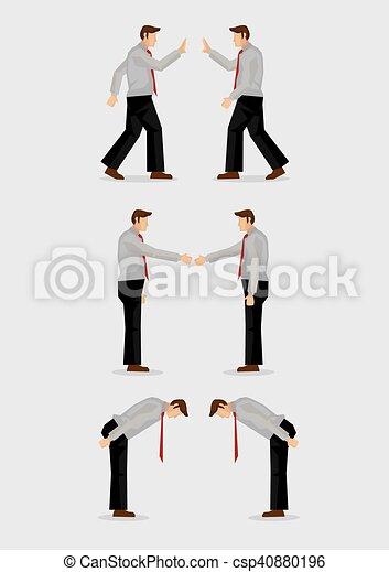 Three ways of greeting gestures vector illustration three sets of three ways of greeting gestures vector illustration m4hsunfo