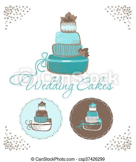 Three wedding cakes. - csp37426299