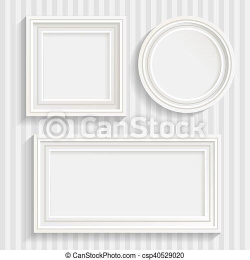 Three white frames set. Set of three minimalistic white frames of ...