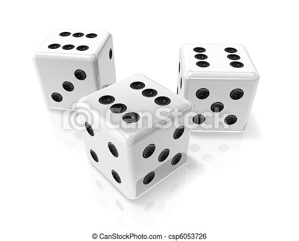 three white win dices - csp6053726