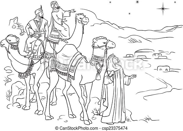 Three wise men following the star - csp23375474