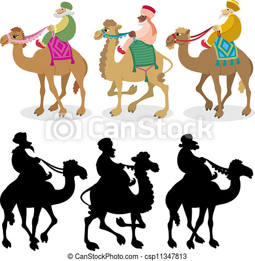 three wise men on white the three wise men and their camels rh canstockphoto com Christmas Wisemen Clip Art Three Wise Men Clip Art