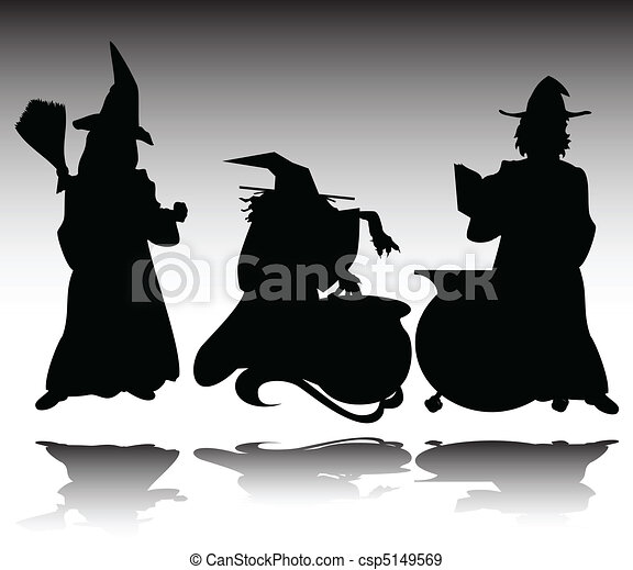 three witch vector silhouettes - csp5149569