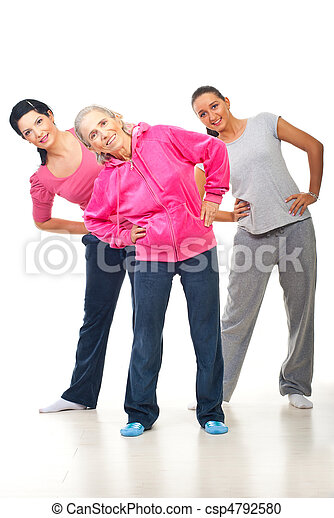 Three women doing sport - csp4792580