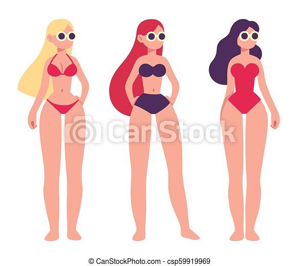 4881510e6f601 Three women in swimsuits. Set of three ladies in different swimsuit ...