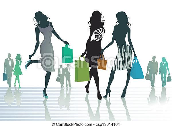 three women out shopping - csp13614164