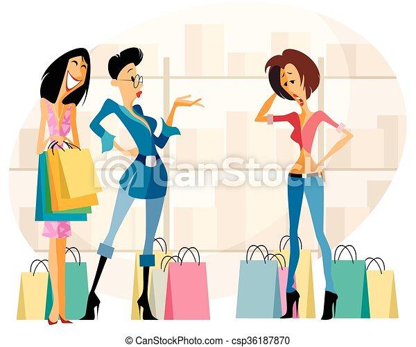 Three women shopping - csp36187870