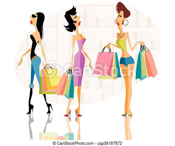 Three women shopping - csp36187872