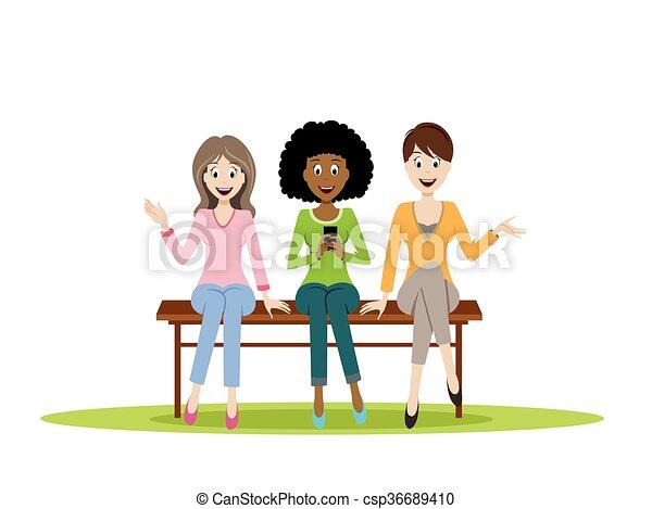 Three women sitting on a bench - csp36689410