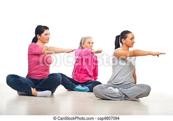 Three women stretching hands - csp4807094