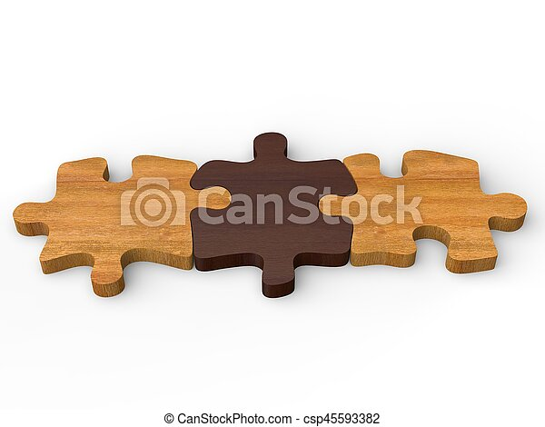 Three Wooden Puzzle Pieces Put Together