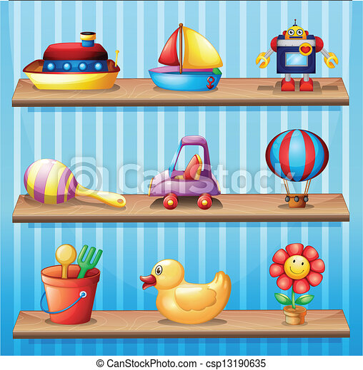 Three wooden shelves with different toys  - csp13190635