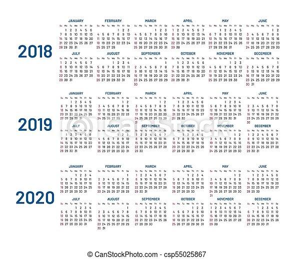 Calendario 2020 Planner.Three Years Calendar 2018 2019 2020 Isolated Flat