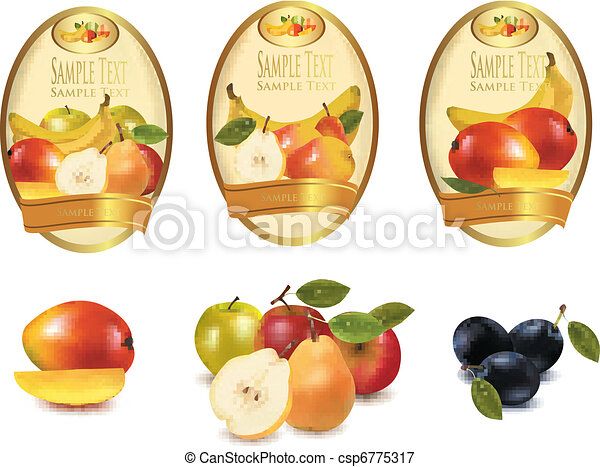 Three yellow labels with fruit - csp6775317