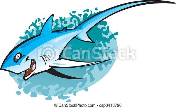 thresha, tubarão, caricatura - csp8418796