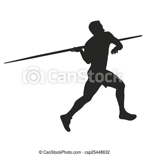 throw., javelin, silueta, atleta - csp25448632