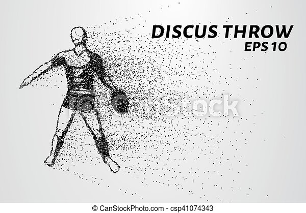 Throwing discus from the particles. The throwing of the discus of dots and circles. Throwing the discus into smaller molecules. Vector illustration - csp41074343