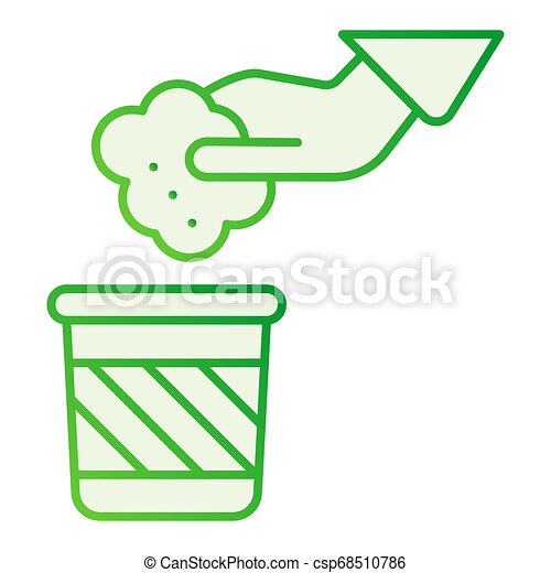 Throwing waste flat icon. Hand and trash gray icons in trendy flat style. Garbage and hand gradient style design, designed for web and app. Eps 10. - csp68510786
