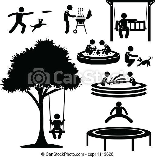 thuis, achterplaats, activiteit, pictogram - csp11113628