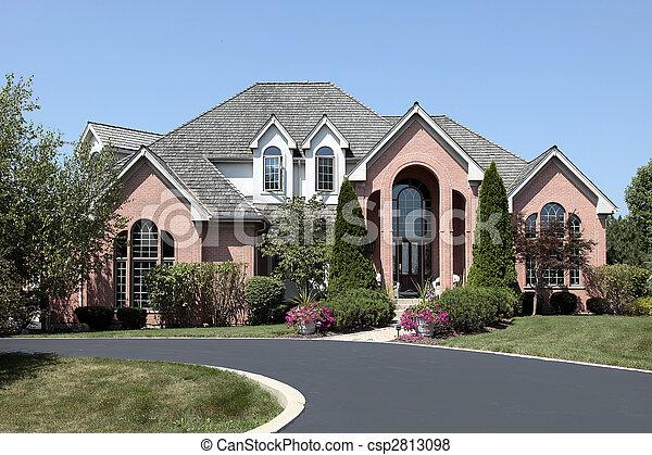 thuis, baksteen, ceder, luxe, dak - csp2813098