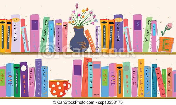 thuis, boek, vazen, planken - csp10253175