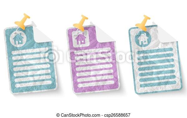 thuis, verfrommeld papier, document, pictogram - csp26588657