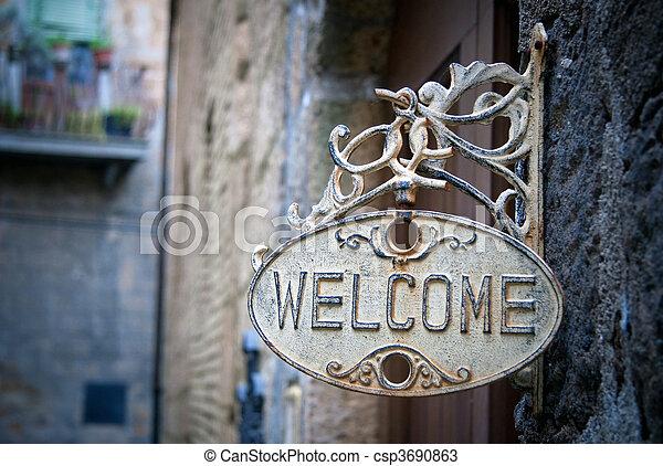 thuis, welkom, logboek, meldingsbord - csp3690863