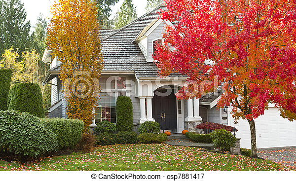 thuis, woongebied, gedurende, seizoen, herfst - csp7881417
