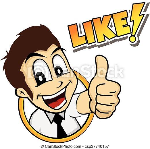 thumb up cartoon character - csp37740157