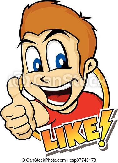 thumb up cartoon character - csp37740178