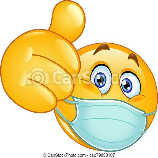 thumb up emoticon with medical mask - csp79033107