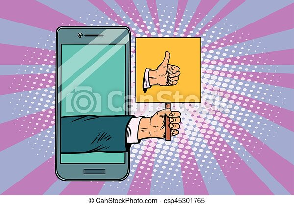 Thumb up gesture smartphone - csp45301765