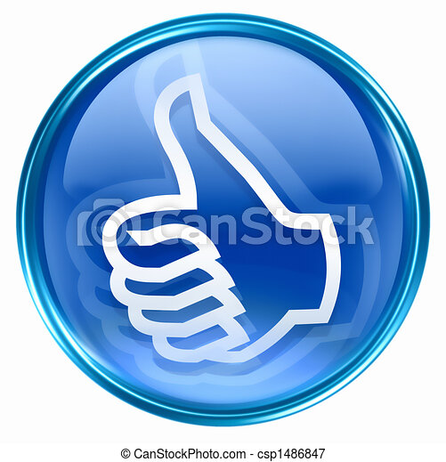 thumb up icon blue, approval Hand Gesture - csp1486847